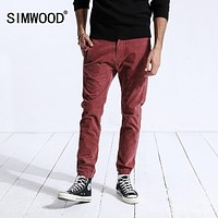 SIMWOOD Winter Casual Pants Men Fashion Skinny Corduroy Slim Fit Plus Size Warm Trousers Pencil Pants Brand Clothing 180484