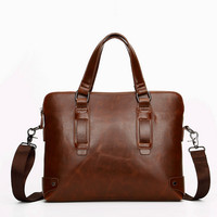 Vintage Business Mens Leather Crossbody Shoulder Handbag Briefcase