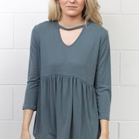 Modal Keyhole + Smocked Waist Top {Blue Steel}