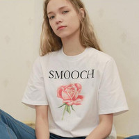 """SMOOCH"" letters one rose print white T-shirt tee top"