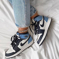 Nike Jordan1 Mid AJ1 Mid top casual sports basketball shoes