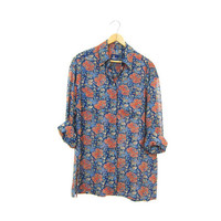 Slouchy SHEER Floral Blouse Button Up 90s Festival Shirt Oversized Bohemian Grunge Gypsy Preppy Long Sleeve Top Womens Small Petite