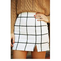 Stylish Black and White Plaid Mini Skirt