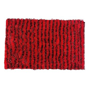 "DaDa Bedding Shaggy Soft Rectangle Door Mat Bath Carpet Rug - 20"" x 32"", Striped Red & Black"