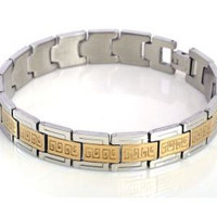Men's Stainless Steel Link Chain Bracelet with Gold Tone Greek Inset Design