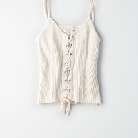 AE RIBBED KNIT CORSET TANK TOP, Oatmeal