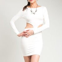 Waist Cut Out Super Stretch Bodcon Long Sleeve Dress in Ivory