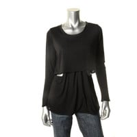 Donna Mizani Womens Modal Leather Trim Pullover Top