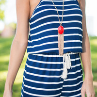 Watching The Dock Romper, Navy
