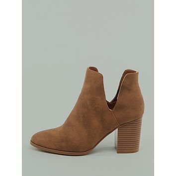 Cut Out Detail Almond Toe Chunky Heel Booties