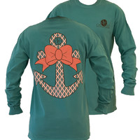 SALE Southern Couture Preppy Anchor Big Bow Comfort Colors Seafoam Girlie Long Sleeve Bright T Shirt