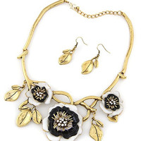 Black Floral Leaves Drop Plated Necklace And Ring Pack