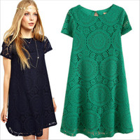 New Arrival Lace Female Hollow Out Women's Fashion Plus Size Short Sleeve One Piece Dress = 5826307393