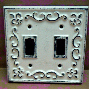 Fleur de lis Cast Iron Light Switch Plate Cover Double Wall Shabby Chic Distressed Rustic French Decor Creamy Off White ( Ecru)
