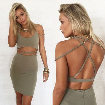 Solid Color Fashion Hollow Irregular Crisscross Weave Bandage Tight Backless Mini Dress