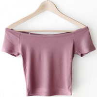Off Shoulder Crop Top - Ash Mauve