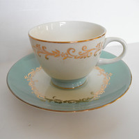 Blue Tea Cups and Saucers Vintage Robins Egg Blue With Gold Trim SET OF TWO