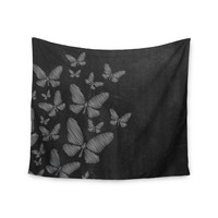 """Snap Studio """"Butterflies IV"""" White Chalk Wall Tapestry"""
