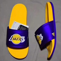 ADIDAS LAKERS Casual Fashion Man Sandal Slipper Shoes H-PSXY