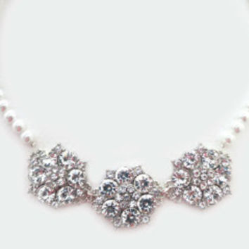 Rhinestone Costume Jewelry, Pearl and Rhinestone Statement Necklace