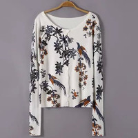 White Floral Printed Knitted Cardigan