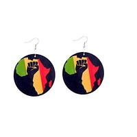 Large Red, Green And Yellow African Wood Earrings