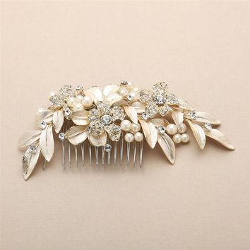 Bridal Hair Comb with Hand Painted Gold Leaves and Pave Crystals
