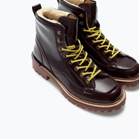 Lined leather boot