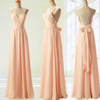 Bridesmaid dress,Prom Dress Sweetheart Sleeveless lace- Up Back Chiffon long Bridesmaid Dress  long Crystal Prom Dress