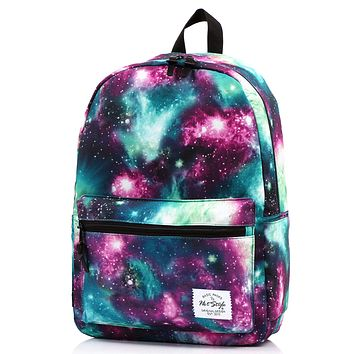 TRENDYMAX Galaxy Backpack for School Girls & Boys, Durable and Cute Bookbag with 7 Roomy Pockets D049A, Green