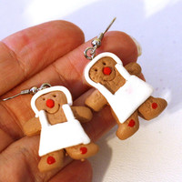 Gingerbread Chef Baker Repurposed Christmas Ornament Earrings - Womens Jewelry - Holiday Earrings - Cookie Earrings