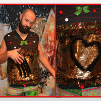 XL, color changing sequins bling, write on it to make your own design, Party Sweater, Ugly Christmas Sweater, vest, one of a kind, mens