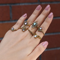 Vintage Gold Silver Ring For Women Boho Jewelry