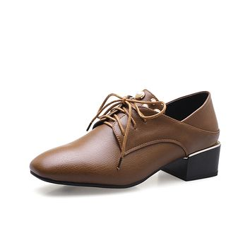 Lady British Style Lace Up Square Head Pearl Oxford Shoes