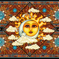 Sun and Moon - Brown - Tapestry