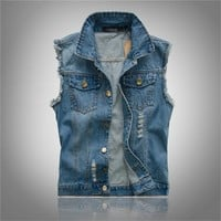 Trendy Spring Autumn Denim Vest Men Sleeveless Jackets Casual Waistcoat Men's Jean Coat Ripped Slim Fit Men Jacket Cowboy Plus Size 6XL AT_94_13