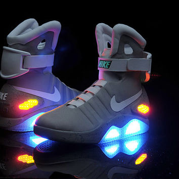 Shoes Back To The Future Movie. Marty McFly's Nike MAG LED Sneakers from 80's BTTF Michael J Fox Film. Glow in the Dark. Rare! Brand New!