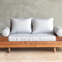Floating Loveseat with built in Side Tables by Masaya and Company made from sustainably sourced Tropical Hardwoods (2 seat)