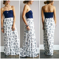 A Lace and Navy Lovely Floral Maxi