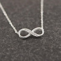 Tiny Infinity Crystal Pendant Necklaces for Women