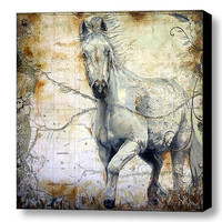 Horse Art Painting - Equine Canvas Print 16x16in