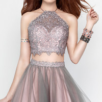 High-Neck Two-Piece Open-Back Party Dress by Alyce
