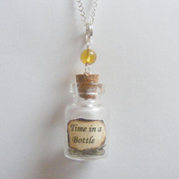 Time In a Bottle Miniature Steampunk Necklace Pendant - Miniature Food Jewelry