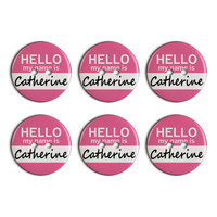 Catherine Hello My Name Is Plastic Resin Button Set of 6