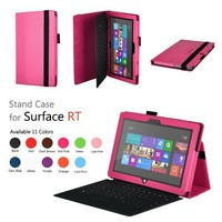 Elsse (TM) Premium Folio Case with Stand for Microsoft Surface Windows 8 RT (Does not fit Windows 8 Pro Version) - (Surface RT, Hot Pink)