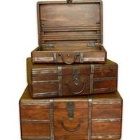 Amir Wood and Iron Rustic Vintage Travel Trunks