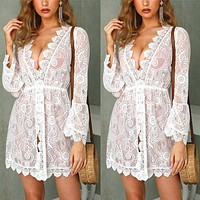 Autumn new female models sexy hollow see-through lace dress