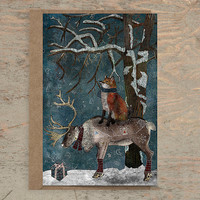 Winter Tale - Greeting Card /// Christmas Card Animal, Winter Card, Fox Card, Reindeer Card, Holiday Card, Blank Card, Birthday Card