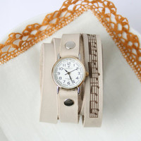 white beige milky leather bracelet wrap around wrist with engraved sheet music with silver gold watch face - Free Shipping