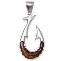 GENUINE INLAY HAWAIIAN KOA WOOD FISH HOOK PENDANT STERLING SILVER 925 SMALL 12MM